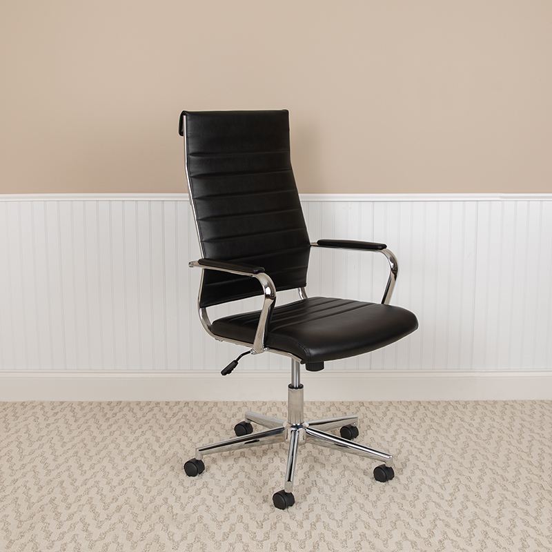 flash furniture black ribbed office chair