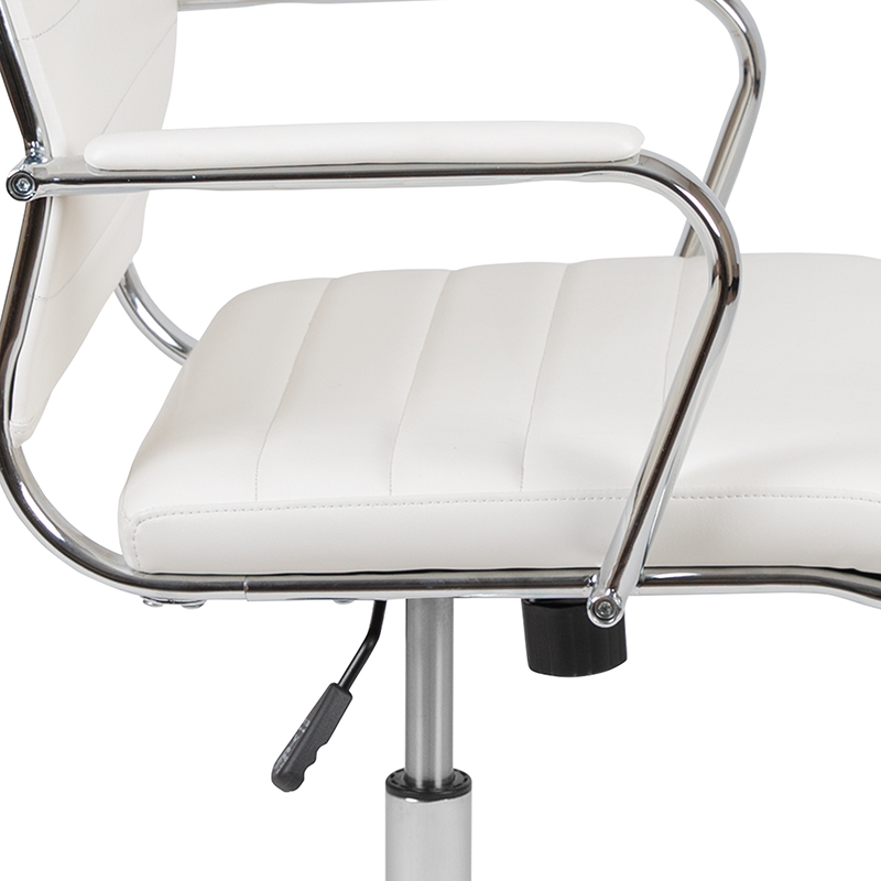 white ribbed back office chair arms