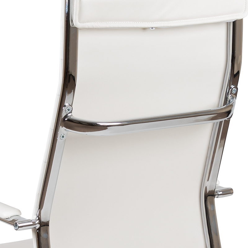 white ribbed back office chair back