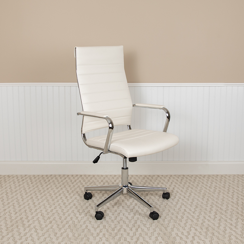 white ribbed back office chair by flash furniture