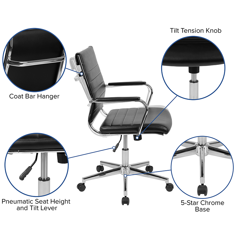 flash furniture mid back ribbed office chair features