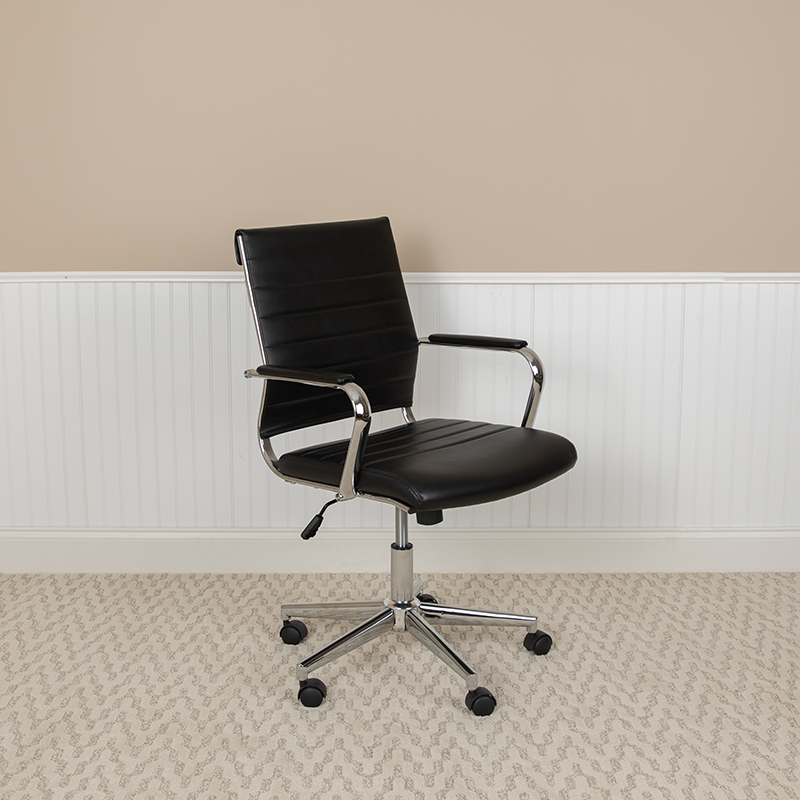 mid back ribbed office chair