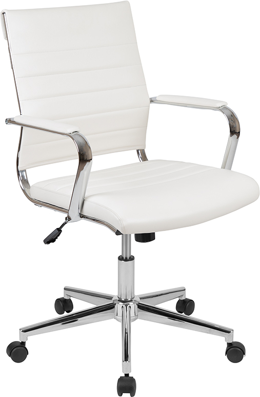 flash furniture white mid back ribbed chair
