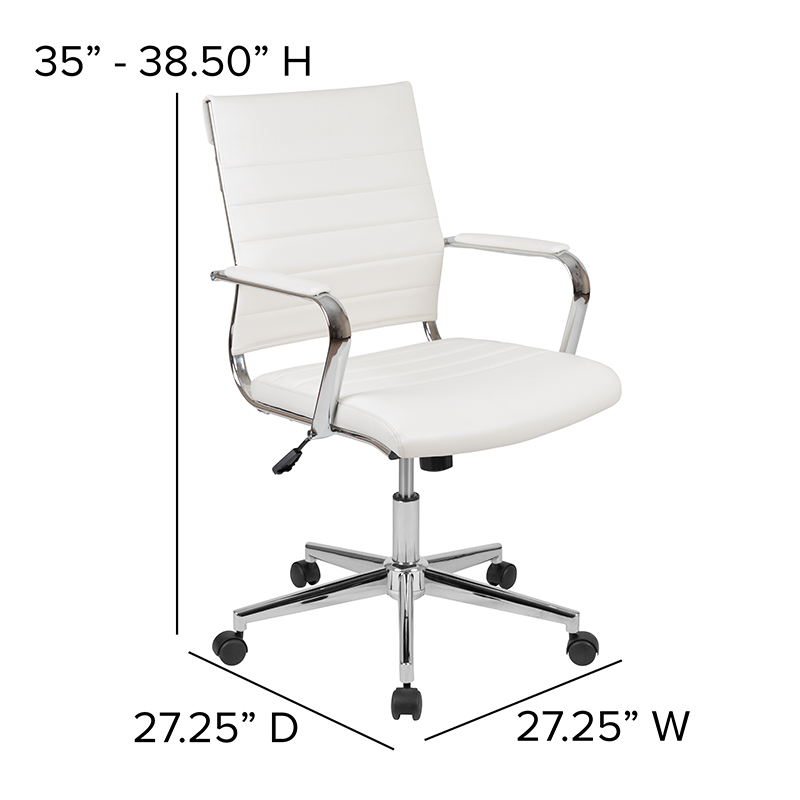 flash furniture white mid back ribbed chair dimensions