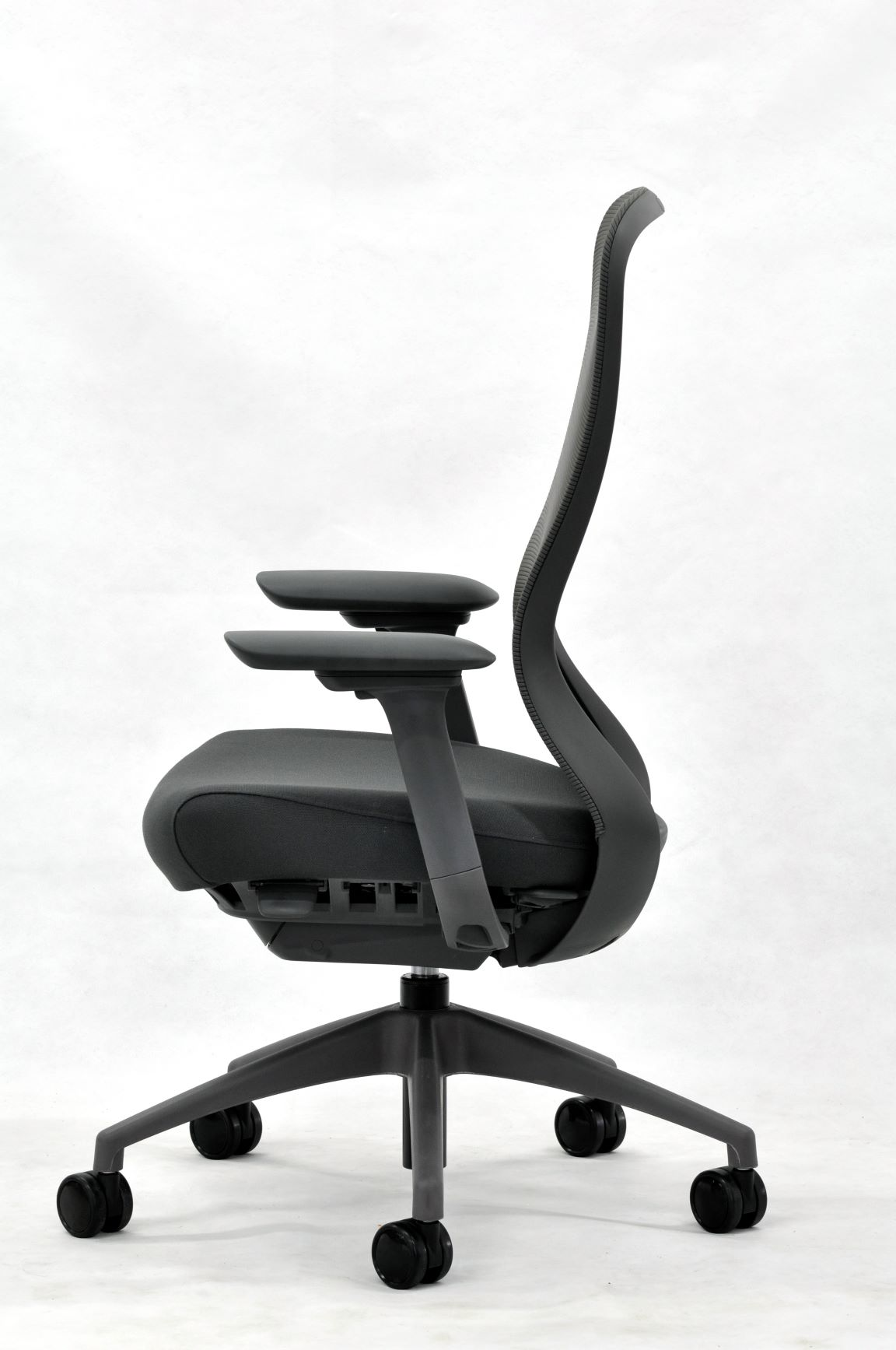 eurotech seating black exchange office chair side profile