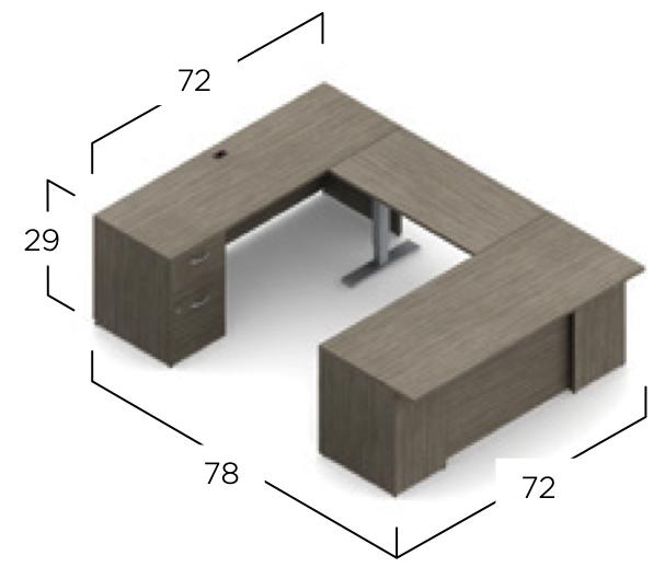 zira ergonomic u-desk dimensions