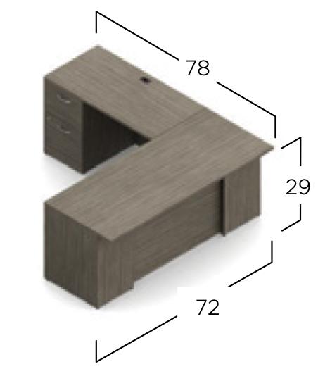 zira l desk dimensions