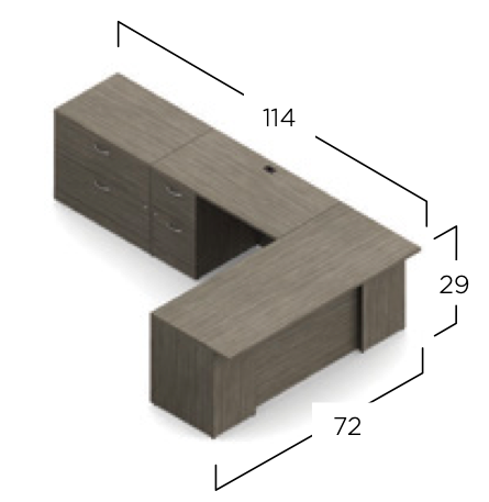 zira l desk with lateral file layout dimensions