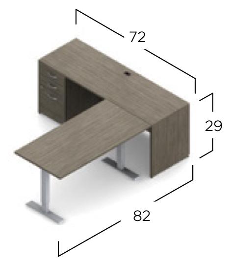 zira ergonomic l desk dimensions