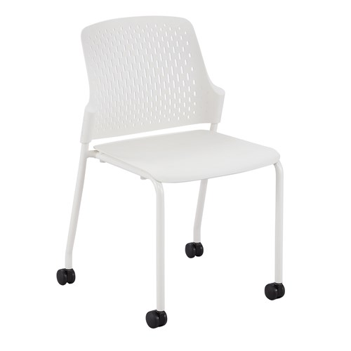 white next stack chair with casters