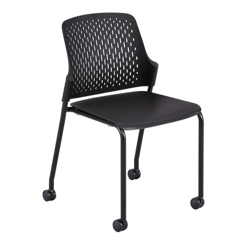 black next stack chair with casters