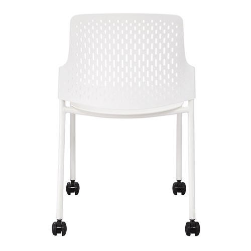 white next stack chair with casters - back view