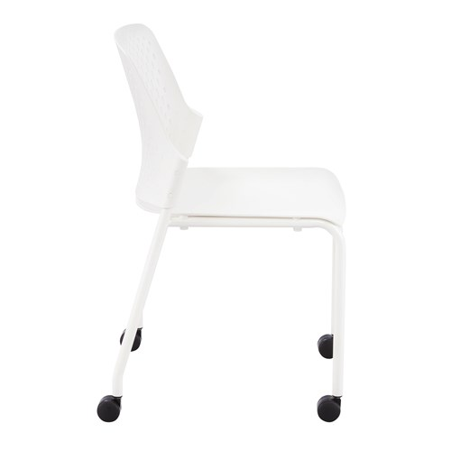 white next stack chair with casters - side view