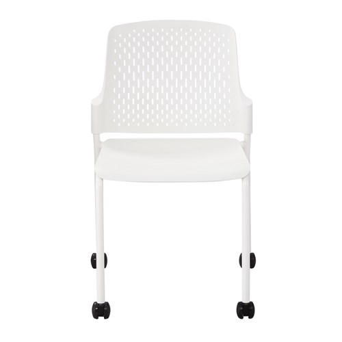 white next stack chair with casters - front view