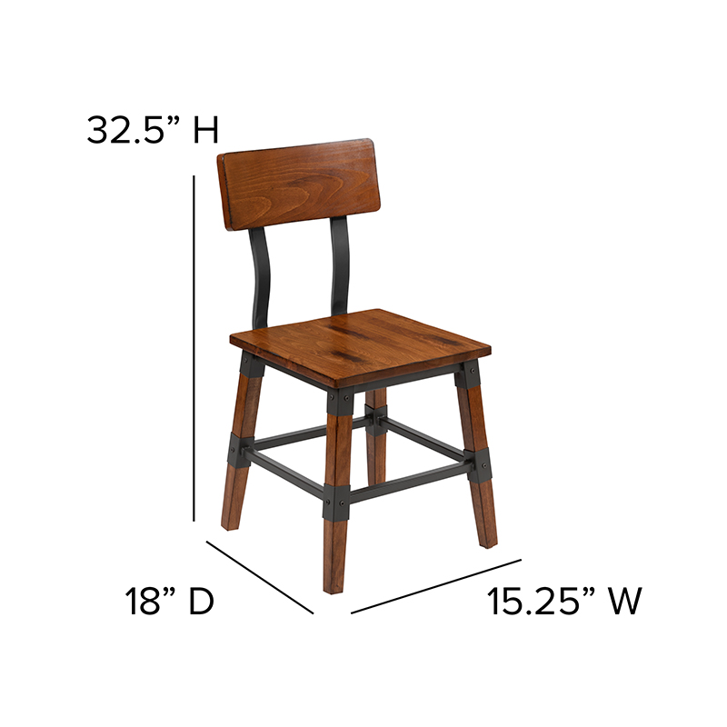 rustic dining chair dimensions