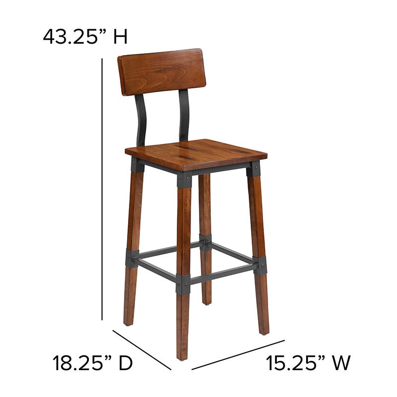 walnut bar stool dimensions