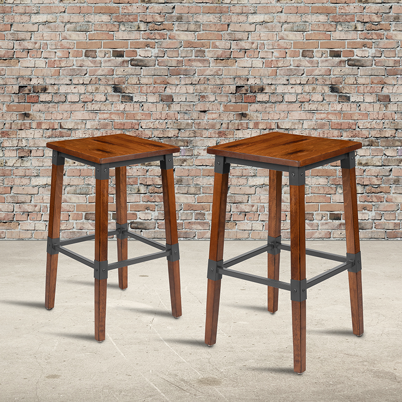 backless antique rustic walnut bar stools