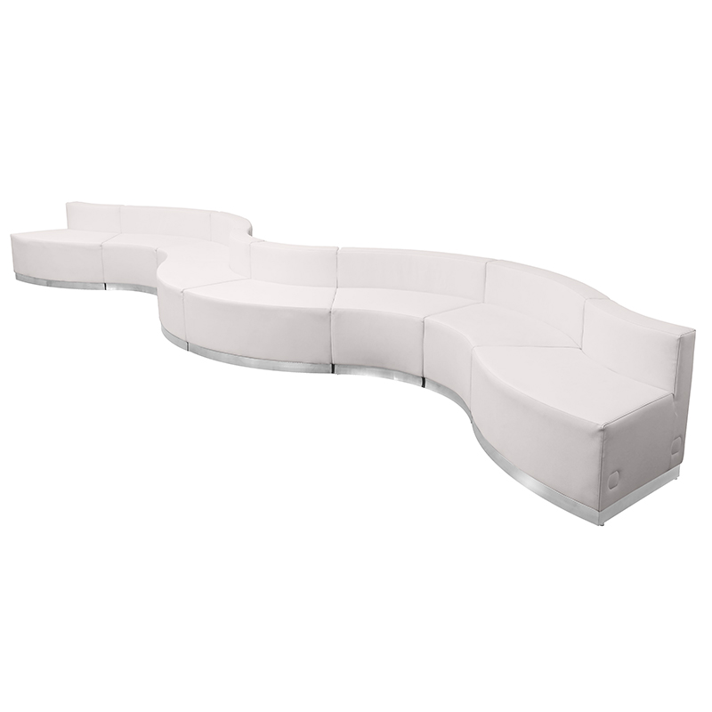 flash furniture alon curved white reception seating set angled view
