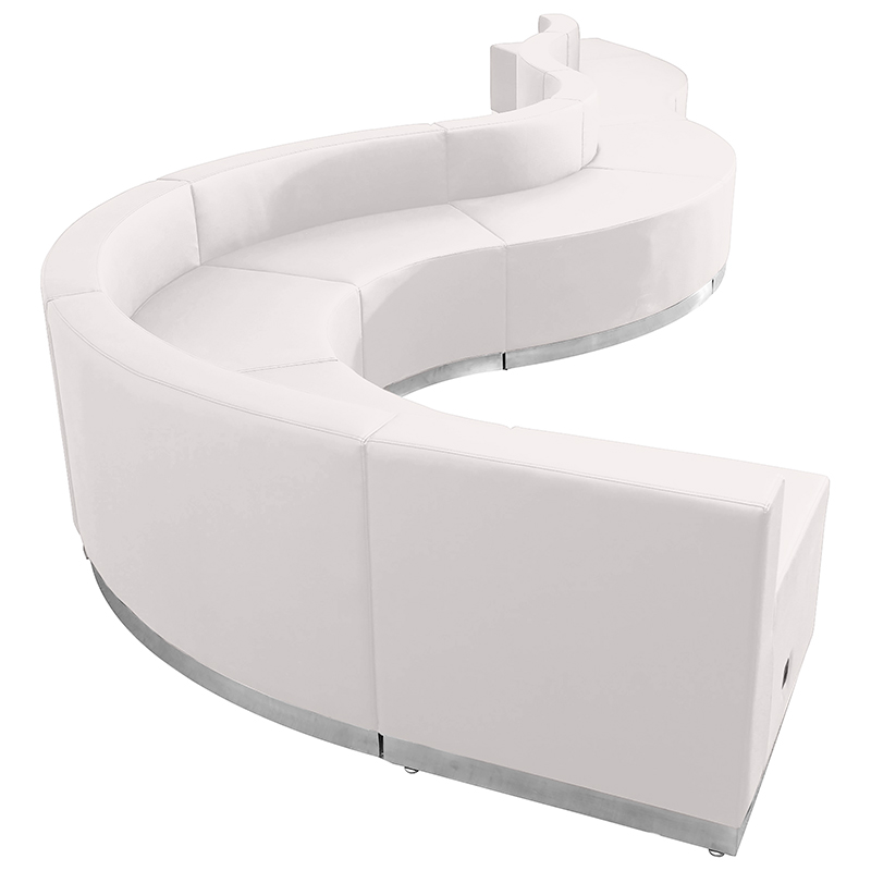 contemporary white reception sectional
