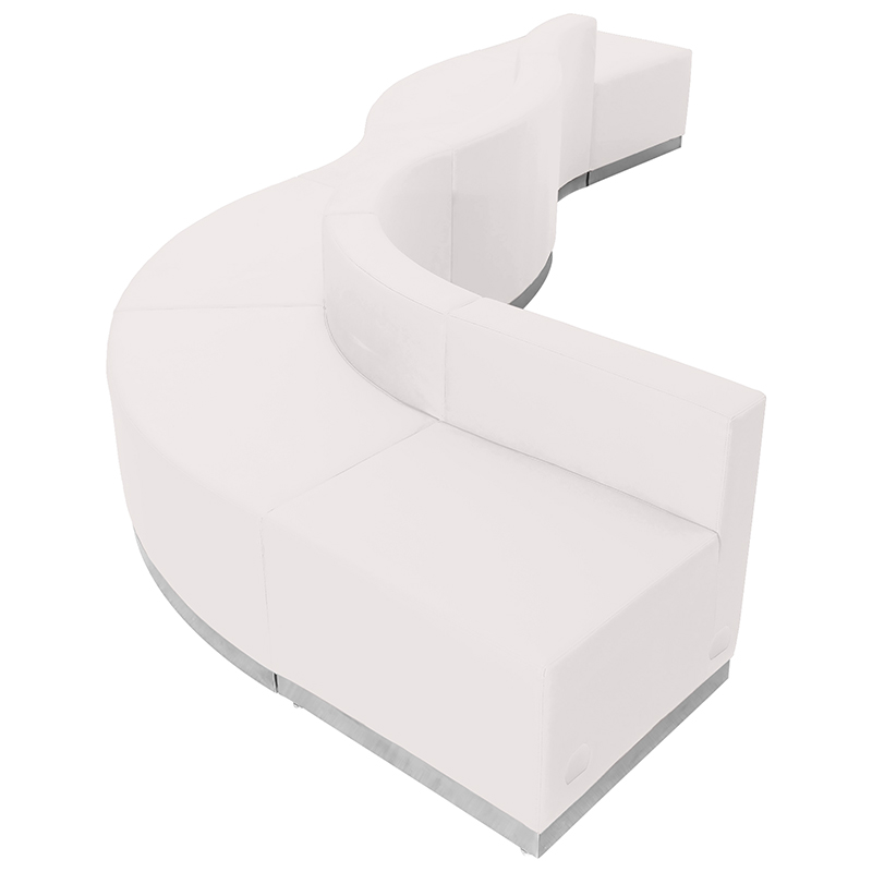 alon series white curved reception sectional