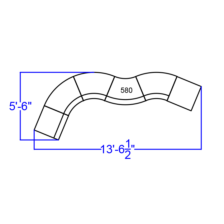 alon series white curved reception sectional dimensions