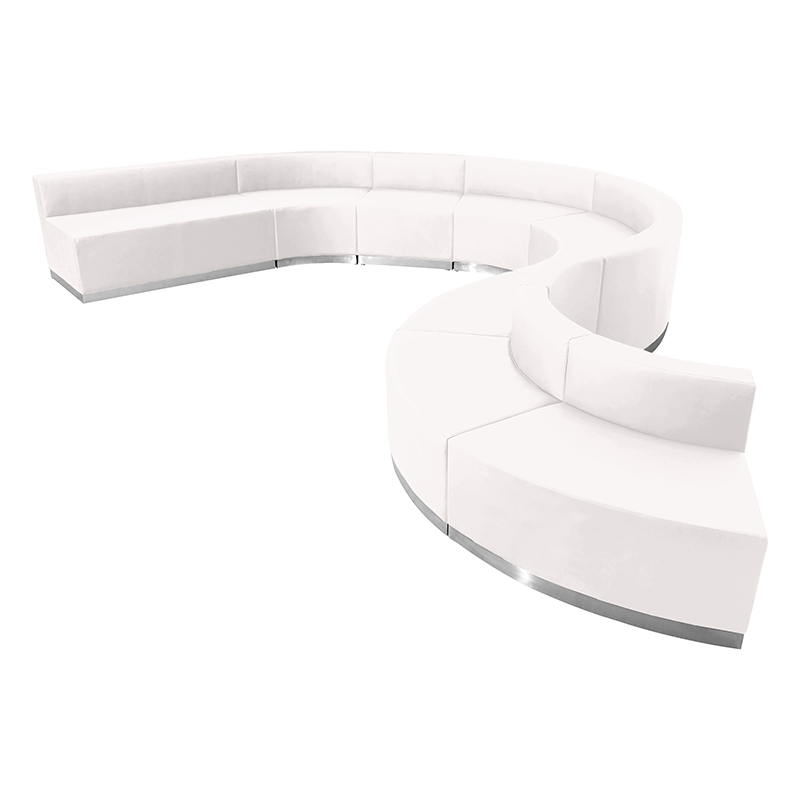 alon white 9 piece reception sectional set