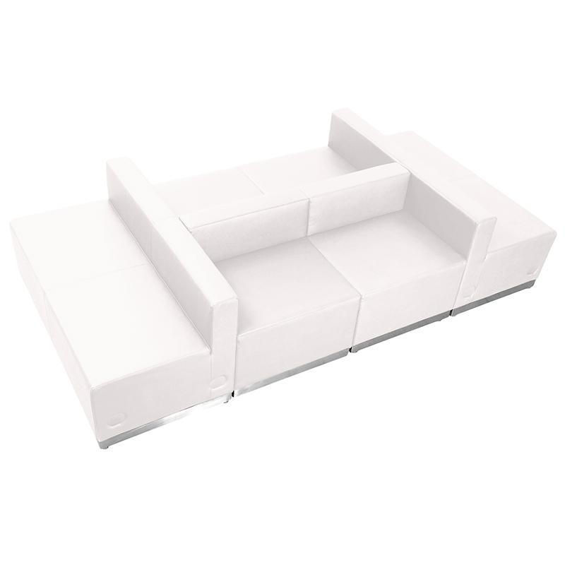 modular white leather lounge seating set by flash furniture