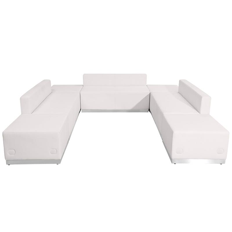 alon modular white sofa seating set front view