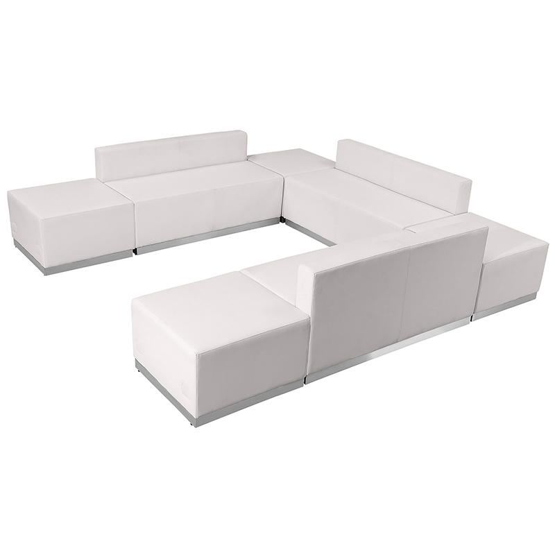 alon modular white sofa seating set side view