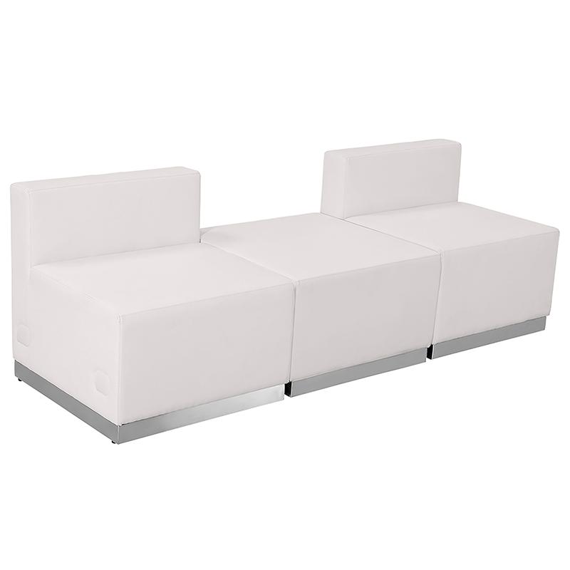 3 piece white reception bench