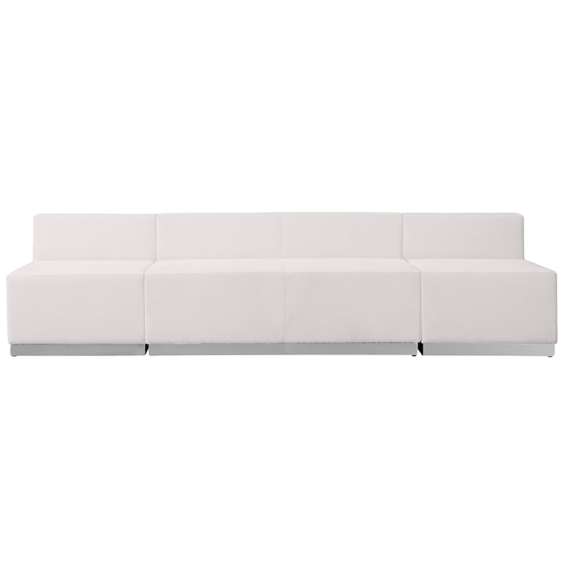 alon white leather 3 piece reception bench front view