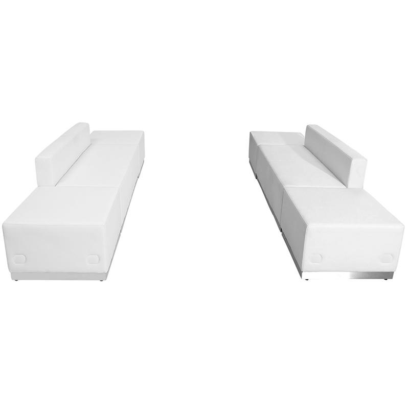 flash furniture alon series white loveseat and ottoman