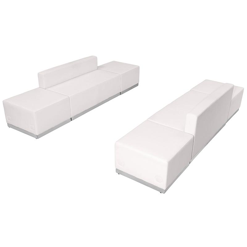 flash furniture white loveseat and ottoman set
