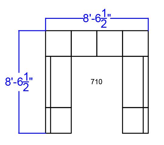 alon series white open u-shaped set dimensions