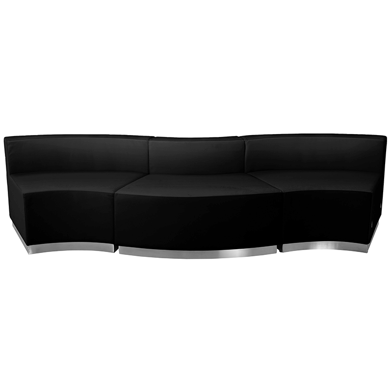 alon 3 piece curved black reception bench front view
