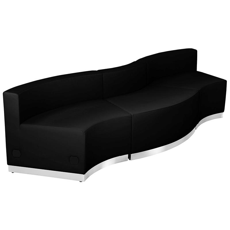 alon 3 piece curved black reception bench