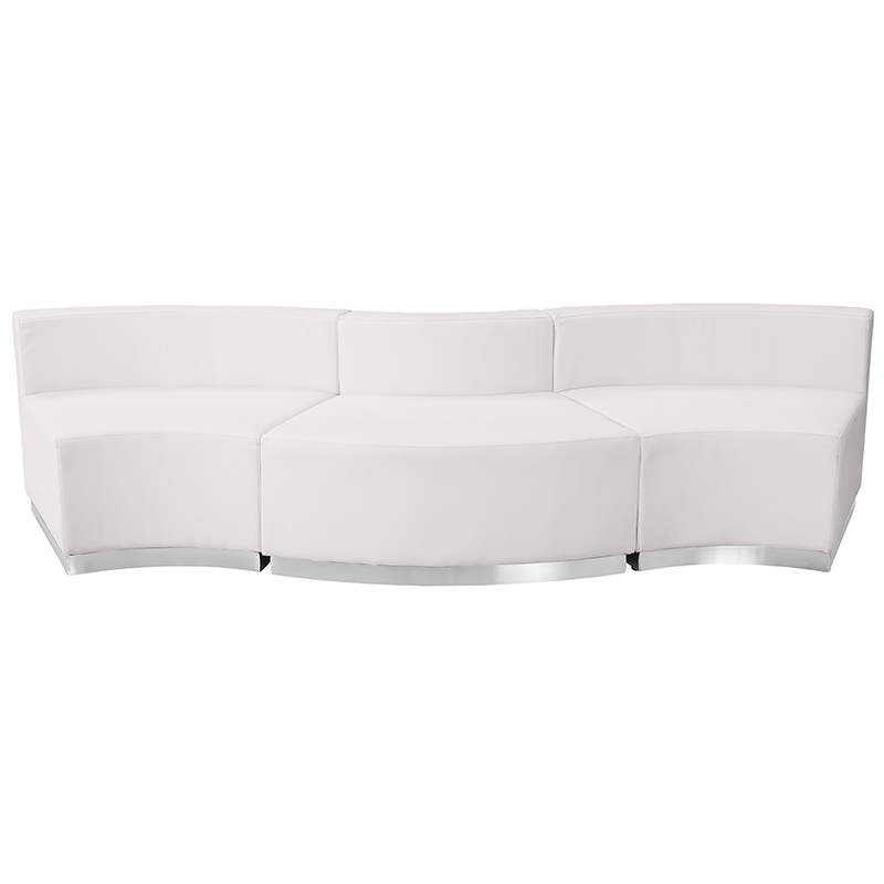 flash furniture alon 3 piece reception sofa front view