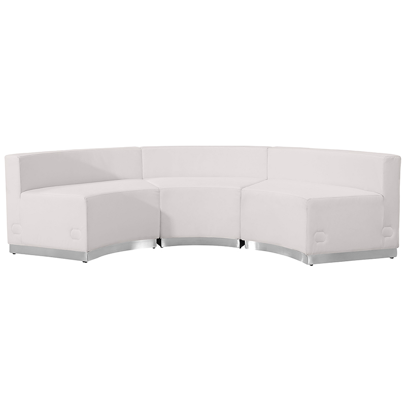 alon 3 piece white reception sectional front view