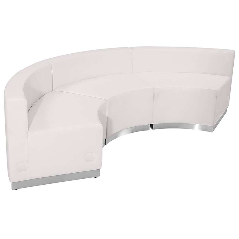 alon 3 piece white reception sectional