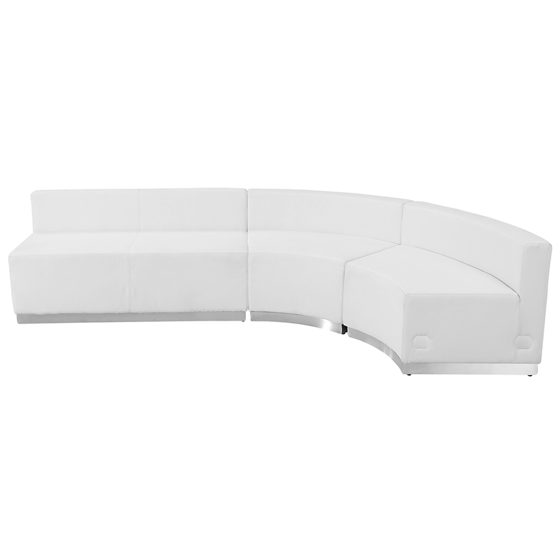alon j shaped white reception sectional