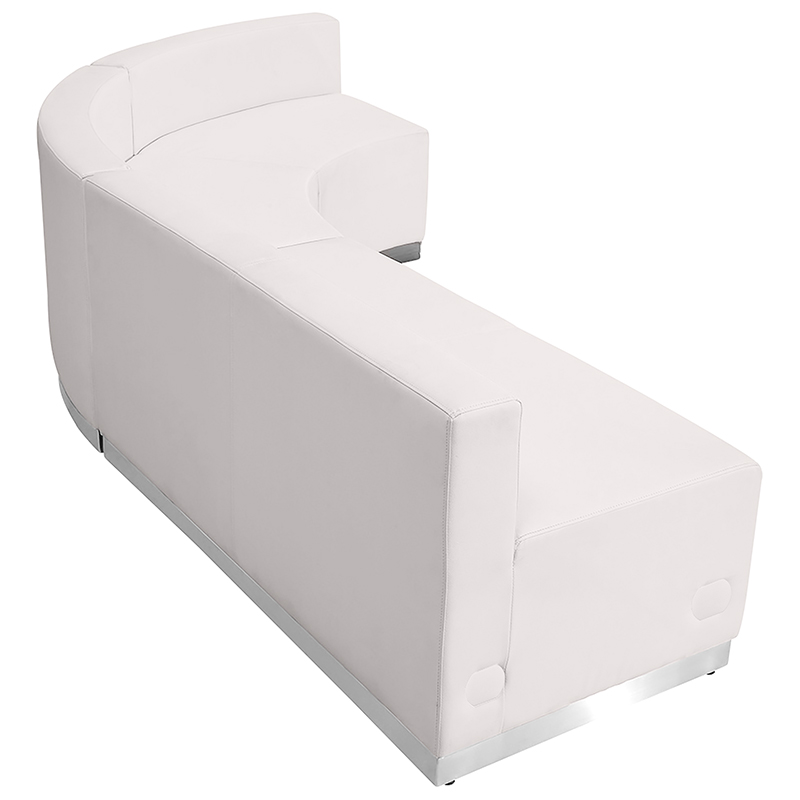 alon j shaped white reception sectional back view
