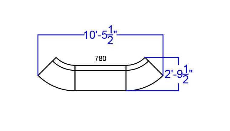 alon 3 piece reception sectional dimensions