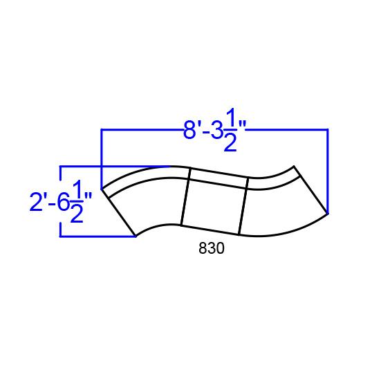 3 piece alon contoured sectional set dimensions