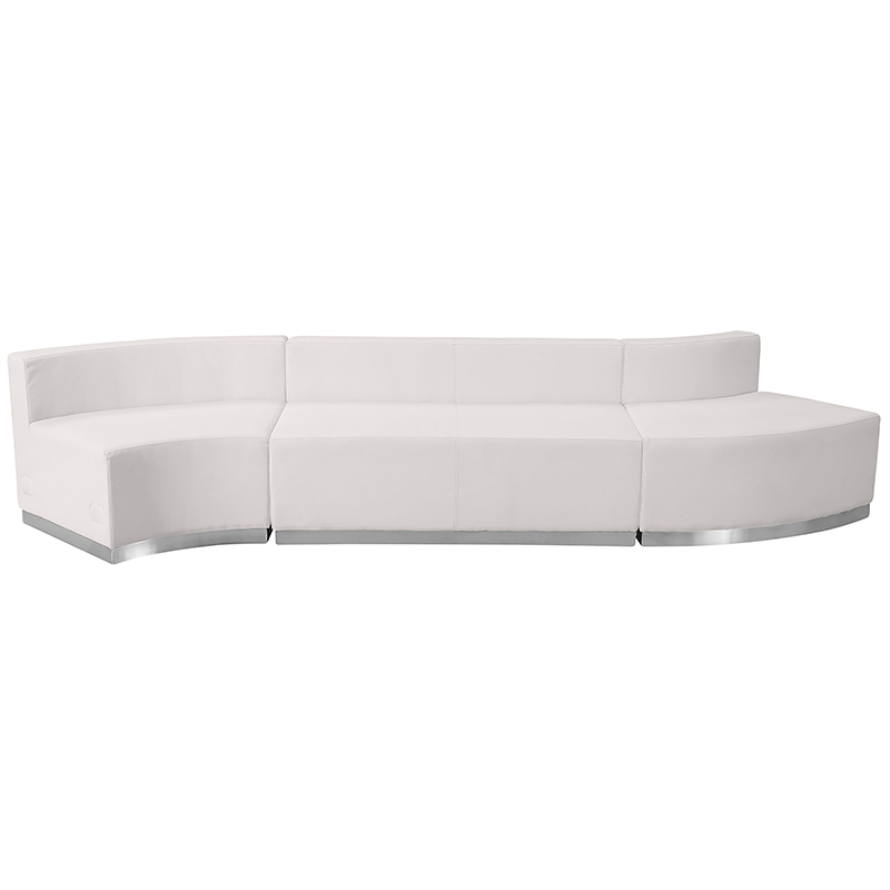 white 3 piece alon sectional set front view