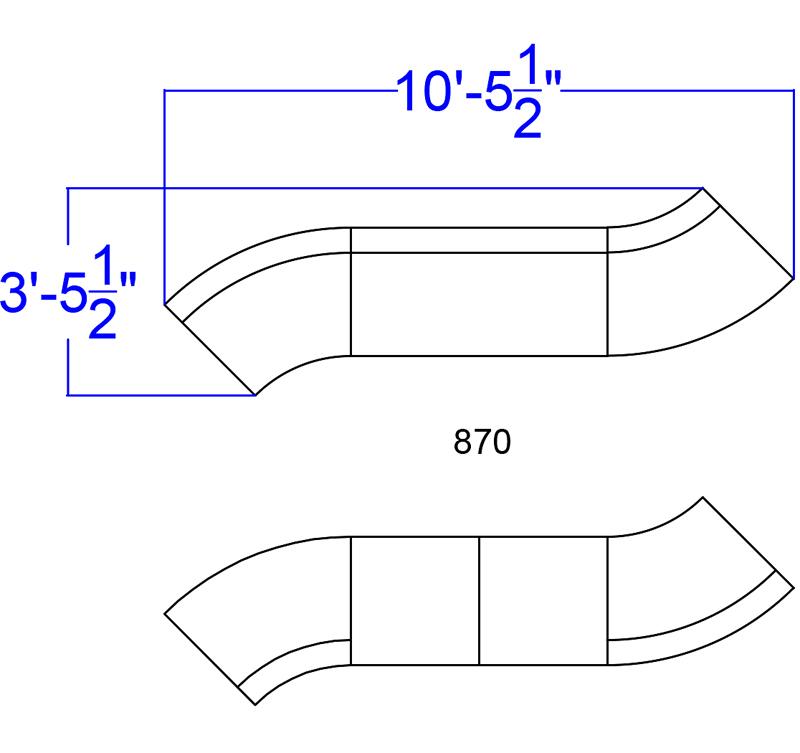 alon white dual sectional set dimensions