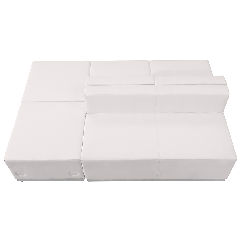 white loveseat and ottoman sectional set
