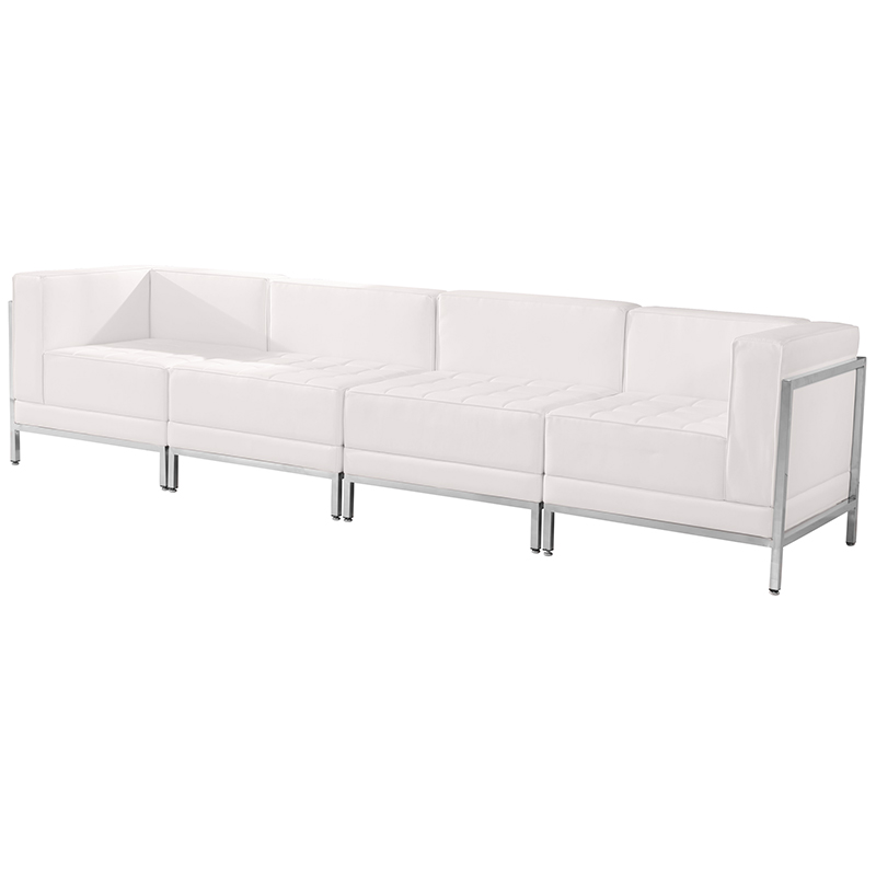 tufted white reception sectional