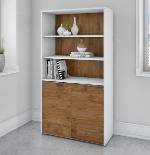 jamestown bookcase white and walnut