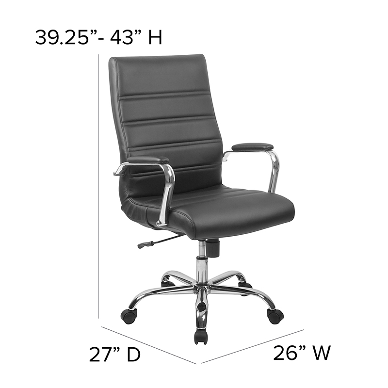 flash furniture high back ribbed office chair dimensions