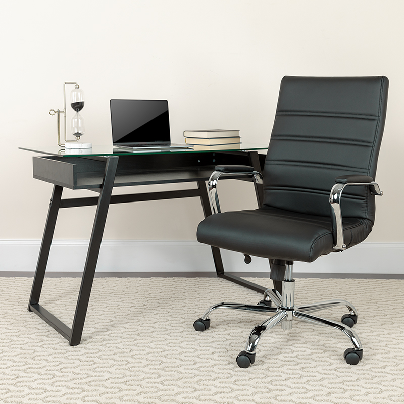 flash furniture high back ribbed office chair in workspace